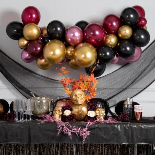 Гирлянда из воздушных шаров Бордо Черный Золото Хром на Хеллоуин 2 метра