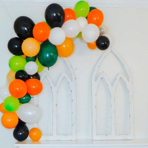 Гирлянда из воздушных шаров Зеленый Оранжевый Черный Белый на Хеллоуин 2 метра
