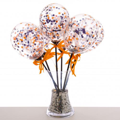 Маленькие шарики на полочке с конфетти Черный Оранжевый и Фиолетовый 6 штук