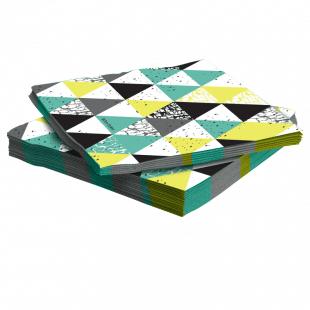 Салфетки 33 х 33 см Геометрия треугольников Бирюзовый 20 штук