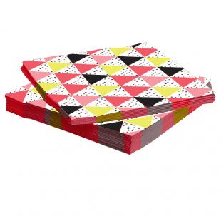 Салфетки 33 х 33 см Геометрия треугольников Розовый 20 штук