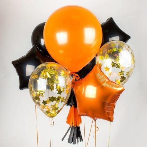 Связка из воздушных шаров на Хеллоуин Конфетти Звезды Большой шар и Конфетти