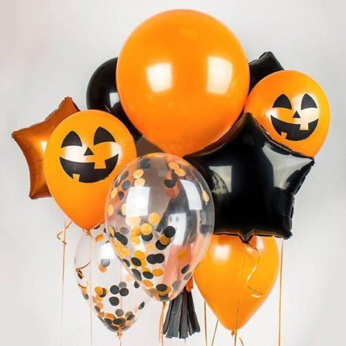 Связка из воздушных шаров на Хеллоуин Конфетти Звезды и Тыквы