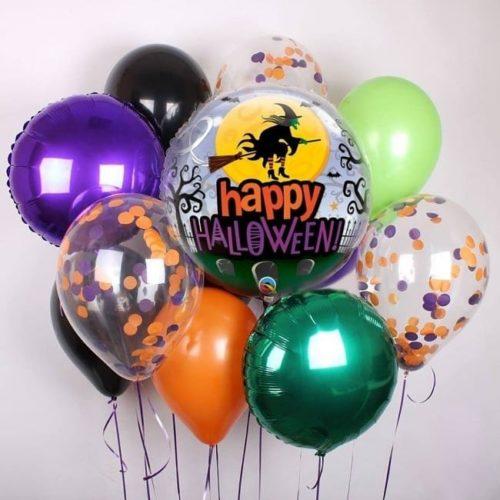 Связка из воздушных шаров на Хеллоуин Микс и Шар с рисунком