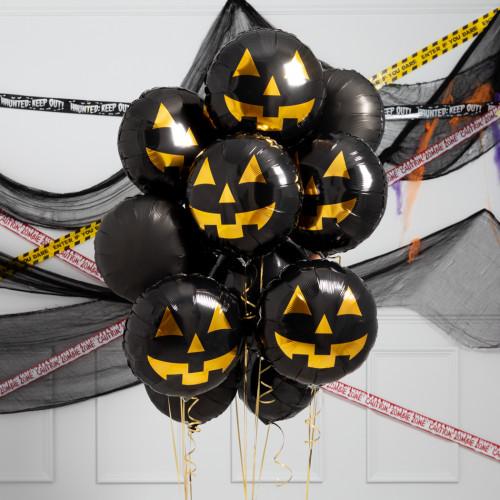 Связка из воздушных шаров на Хеллоуин Черные Тыквы