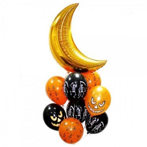 Связка из воздушных шаров на Хеллоуин с Месяцем