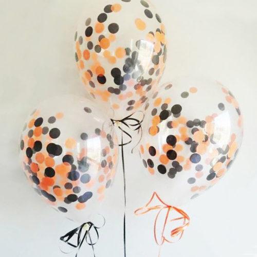 Связка из 3 воздушных шаров на Хеллоуин с конфетти