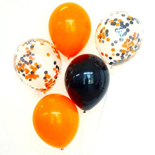 Связка из 5 воздушных шаров на Хеллоуин с конфетти