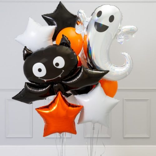 Связка из 7 воздушных шаров на Хеллоуин Приведение и Летучая мышь