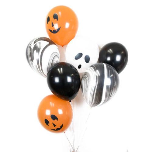 Связка из 7 воздушных шаров на Хеллоуин с шарами Мрамор