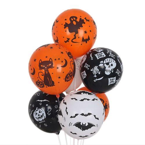 Связка из 7 круглых воздушных шаров с рисунком на Хеллоуин