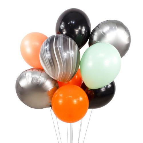 Связка из 8 воздушных шаров на Хеллоуин Ассорти Серебро Мрамор