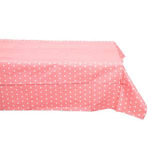 Скатерть п-э Горошек светло-розовая 130 х 180 см