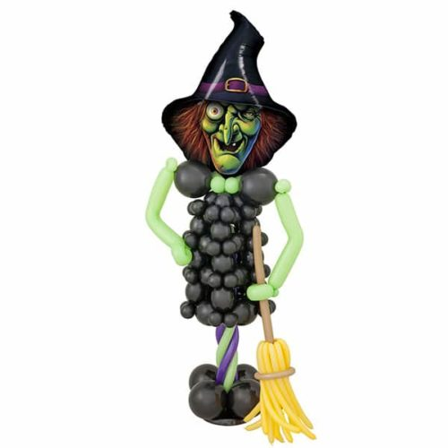 Стойка Ведьма из воздушных шаров с метлой.
