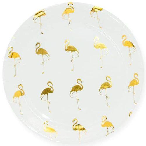Тарелка 18 см Золотой фламинго Белый 6 штук