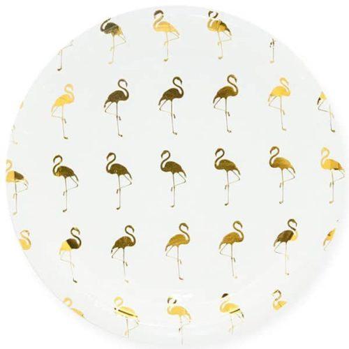 Тарелка 23 см Золотой фламинго Белый 6 штук