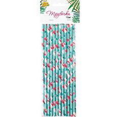 Трубочка для коктейля бумажные Фламинго 12 штук