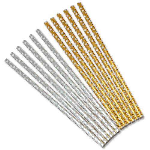 Трубочки для коктейлей Белые точки Золото Серебро 12 штук