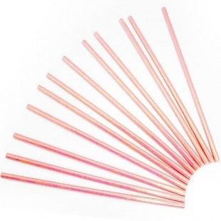 Трубочки для коктейлей Розовый перламутр 12 штук