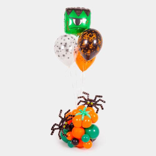 Фонтан из 11 воздушных шаров на Хеллоуин с Паучками