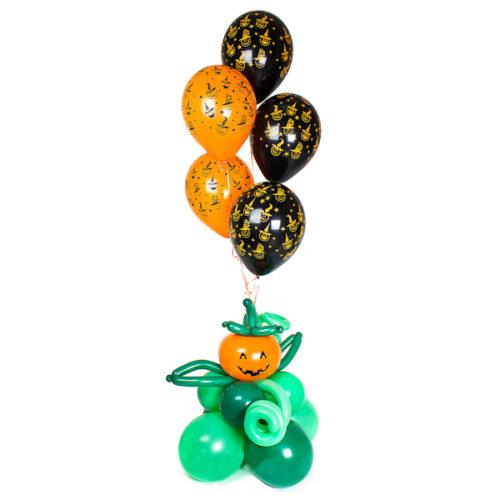 Фонтан из 11 воздушных шаров на Хеллоуин с Тыквой