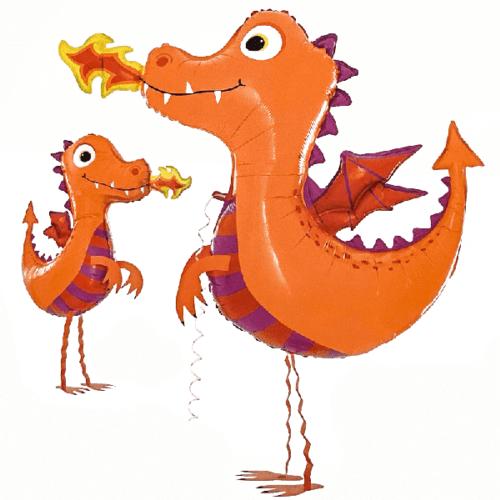 Шар 104 см Ходячая Фигура Дракон Оранжевый