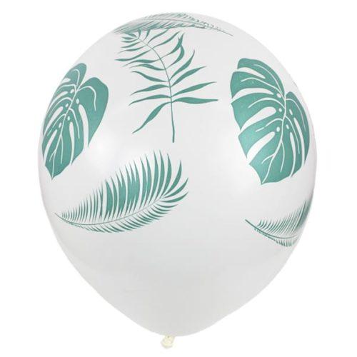 Шар 30 см Листья Тропики Белый Пастель