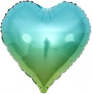 Шар 46 см Сердце Голубой Градиент
