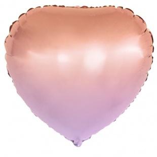 Шар 46 см Сердце Оранжевый Розовый Градиент