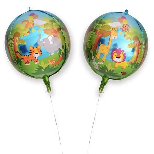 Шар 61 см Сфера 3D Веселые животные Джунгли