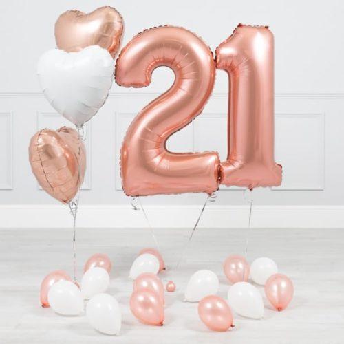 Комплект Розовое Золото и Белый на 21 год