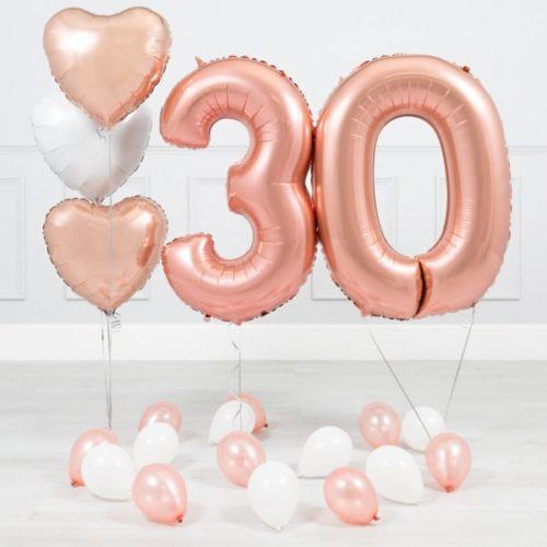 Комплект Розовое Золото и Белый на 30 лет