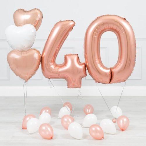 Комплект Розовое Золото и Белый на 40 лет