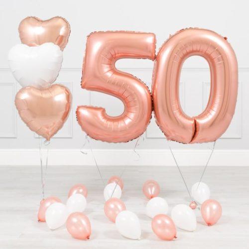 Комплект Розовое Золото и Белый на 50 лет