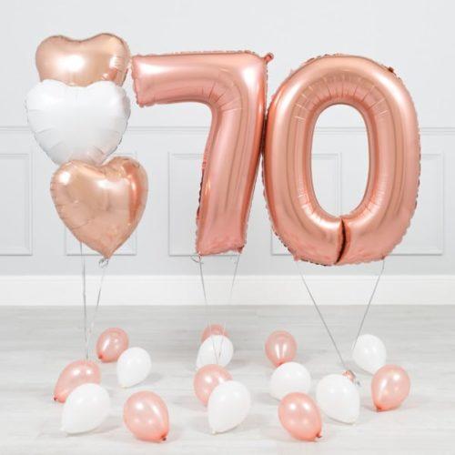 Комплект Розовое Золото и Белый на 70 лет