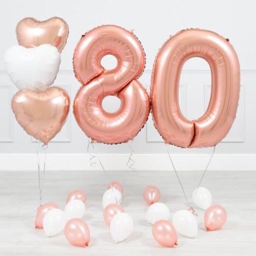 Комплект Розовое Золото и Белый на 80 лет