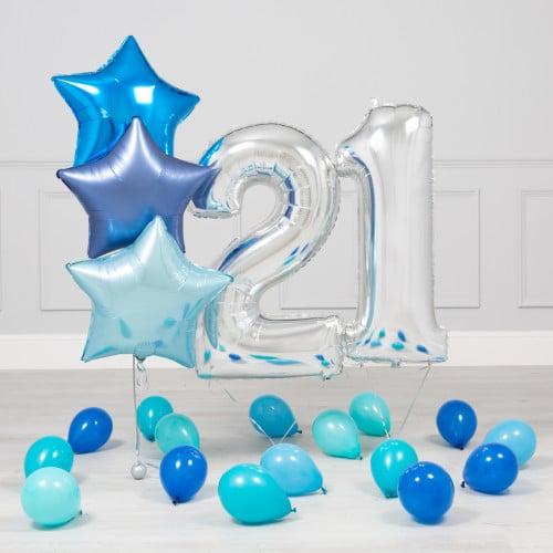 Комплект Серебро и Голубой на 21 год