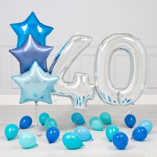 Комплект Серебро и Голубой на 40 лет