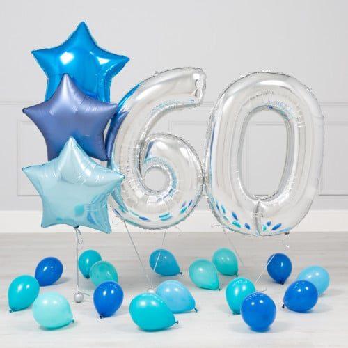 Комплект Серебро и Голубой на 60 лет