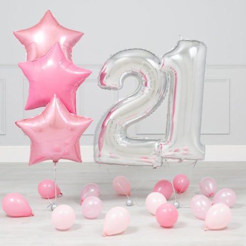 Комплект Серебро и Розовый на 21 год