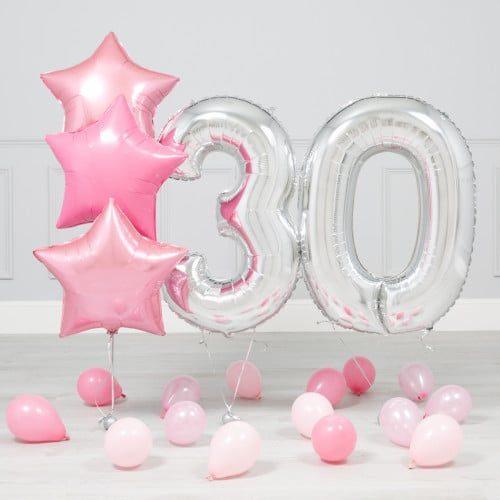 Комплект Серебро и Розовый на 30лет