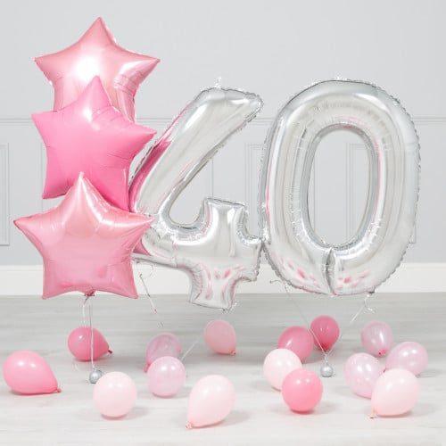 Комплект Серебро и Розовый на 40 лет
