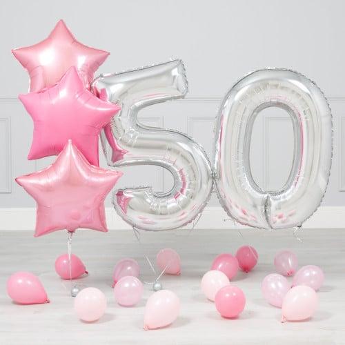 Комплект Серебро и Розовый на 50 лет