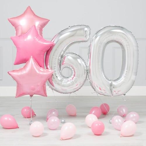 Комплект Серебро и Розовый на 60 лет