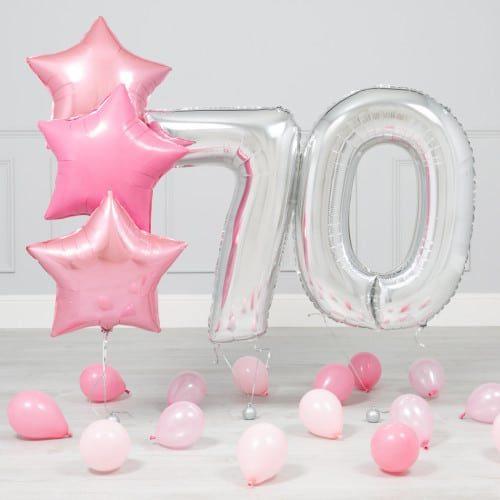 Комплект Серебро и Розовый на 70 лет