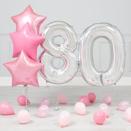 Комплект Серебро и Розовый на 80 лет
