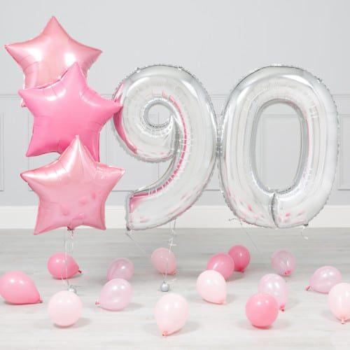 Комплект Серебро и Розовый на 90 лет