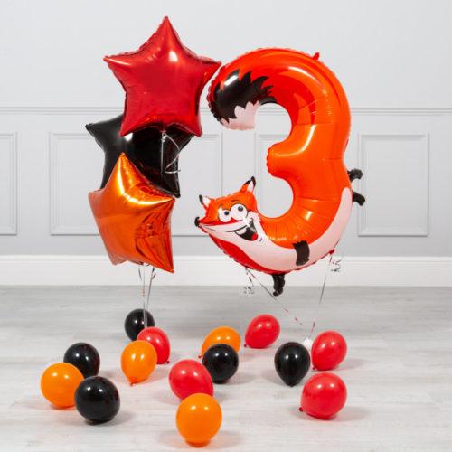 Комплект из шаров на ДР Цифра 3 Лиса