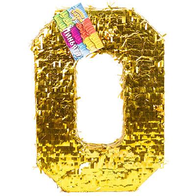 Пиньята Цифра 0 Золото 35 х 8 х 50 см
