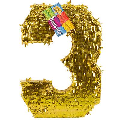 Пиньята Цифра 3 Золото 35 х 8 х 50 см